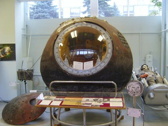 Image of Gagarin's capsule The Vostok 1 capsule now on display in the RKK Energiya Museum, Moscow. (Image credit: via Wikimedia) http://www.armaghplanet.com