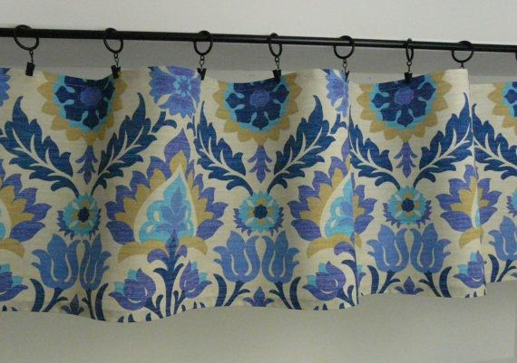 Purple Turquoise Blue Flat Curtain Damask by PaisleyLadyDesigns