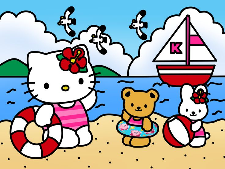 Hello Kitty Go to Beach and Friend (Coloring Book) by Kittykun123.deviantart.com…