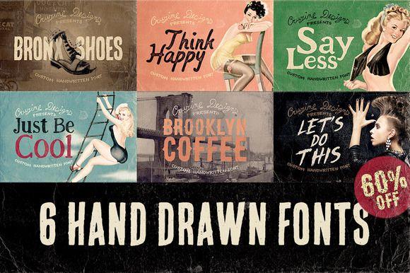 6 Hand Drawn Fonts - Bundle by Cruzine on Creative Market