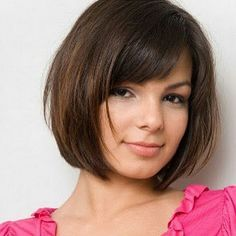 Straight Bob Haircut with Bangs - Short Haircut for Round Faces