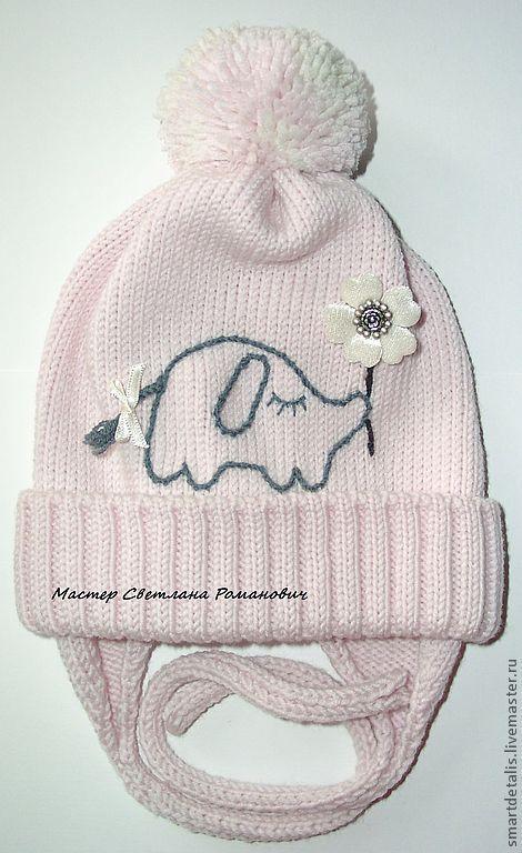 """Купить Детская мериносовая шапочка """"Стеснительный... влюбленный..."""" - бледно-розовый, детские вязаные шапочки"""