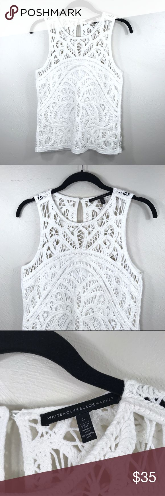 """WHBM Crochet Top Brand: White House Black Market Description: Stunning crochet knit sleeveless top Size: Small Color: Cream Chest Measurement: 16.5"""" across laying flat Length: 23.5"""" from shoulder to hem Material: 92% cotton / 8% other Condition: Excellent, pre-owned White House Black Market Tops Tank Tops"""