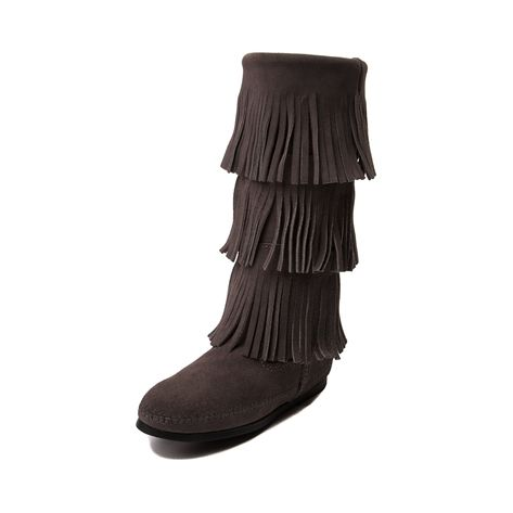 Shop for Womens Minnetonka Jody Boot in Gray at Journeys Shoes. Shop today for the hottest brands in mens shoes and womens shoes at Journeys.com.Calf-high boot from Minnetonka featuring a soft, suede upper, three layers of fringe, and moccasin style stitched details. 11 shaft height. Available only online at Journeys.com and SHIbyJourneys.com!