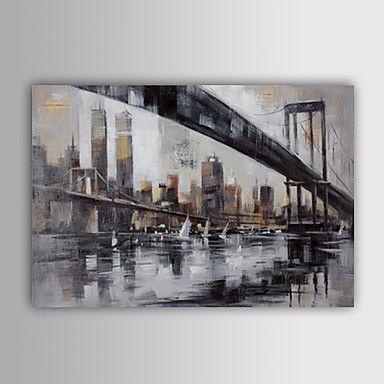Håndmalte+Abstrakt+/+Abstrakte+Landskap+Et+Panel+Lerret+Hang+malte+oljemaleri+For+Hjem+Dekor+–+NOK+kr.+517