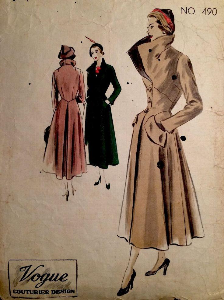 1940's Vintage Vogue Couturier Design Full Length Long Flared Coat Pattern 490