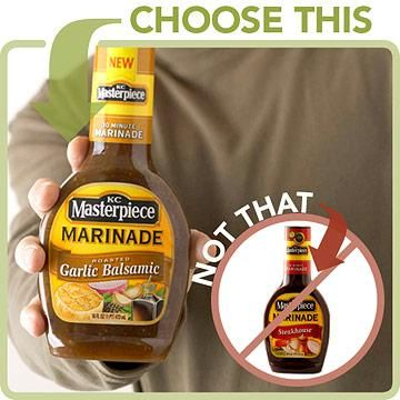 Choose This: KC Masterpiece Garlic Balsamic Marinade (3 g sugar per 1 tablespoon) Not That: KC Masterpiece Steakhouse Marinade (6 g sugar per 1 tablespoon)  Choose This, Not That Low-Sugar Foods | Diabetic Living Online