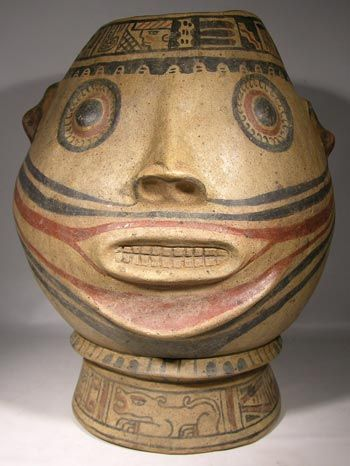"Nicoya Portrait Vessel — Costa Rica  1200 AD - 1500 AD  Very large Costa Rican, Gran Nicoya, ""Jicote"" style portrait head vessel. The head is nicely polychrome painted and sits on a wide footed base. Two decorative bands of glyph-like designs around the top and bottom as is common. Round eyes, small ears and large open mouth, baring teeth."