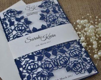 Laser Cut Wedding Invitation White Wedding by FoxfordAtelier