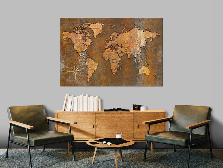 """Bild auf Leinwand, Leinwandbild, Wandbild, Bild """"Rusty World"""". Hauptmotive des Bildes: modern, Landkarte, Welt, Kontinente, Metall, Kompass. Perfekte Deko für modernes Wohnzimmer."""