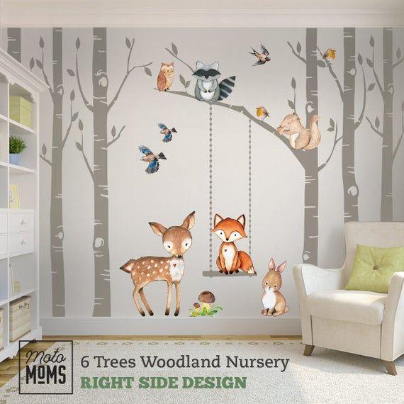 Woodland Nursery Wall Decor 6 Birch Trees Fox Friends Fox Etsy Nursery Wall Decor Nursery Wall Decals Woodland Nursery