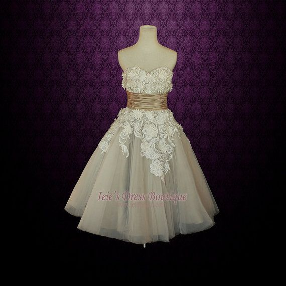 Retro vintage 50s mocha sweetheart short tea length for Etsy tea length wedding dress