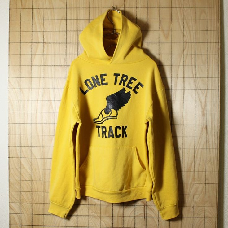 RUSSELL ATHLETIC/USA製古着/イエロー/LONE TREE TRACK/プリントスウェットパーカー・トレーナー/メンズM