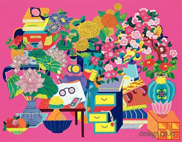 행복이 가득한 집_ 팝! 팝! 팝! 화가 김지혜의 휴대폰과 핸드백이 있는 책거리 그림