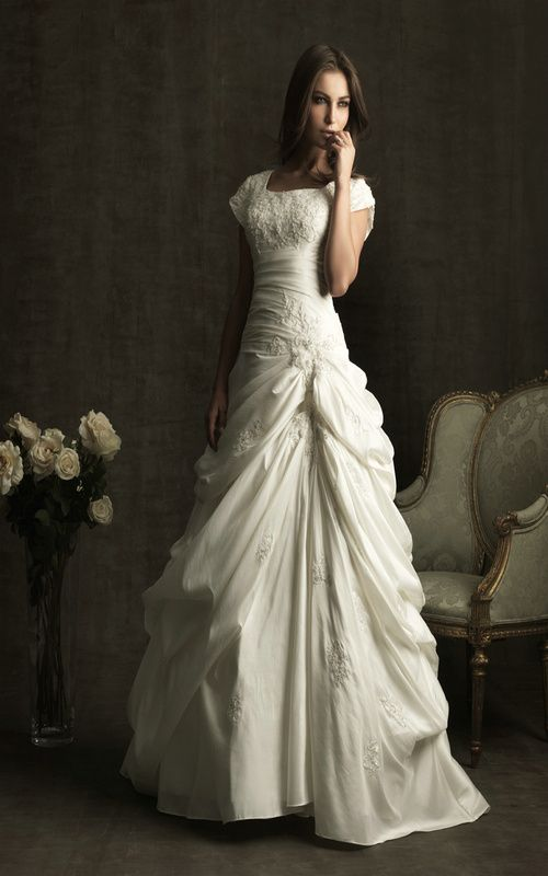 Modest short sleeves taffeta ruffy bridal gown bride for Short modest wedding dresses