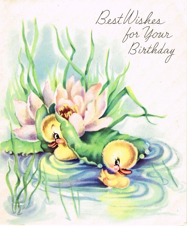 vintage Birthday ducklings