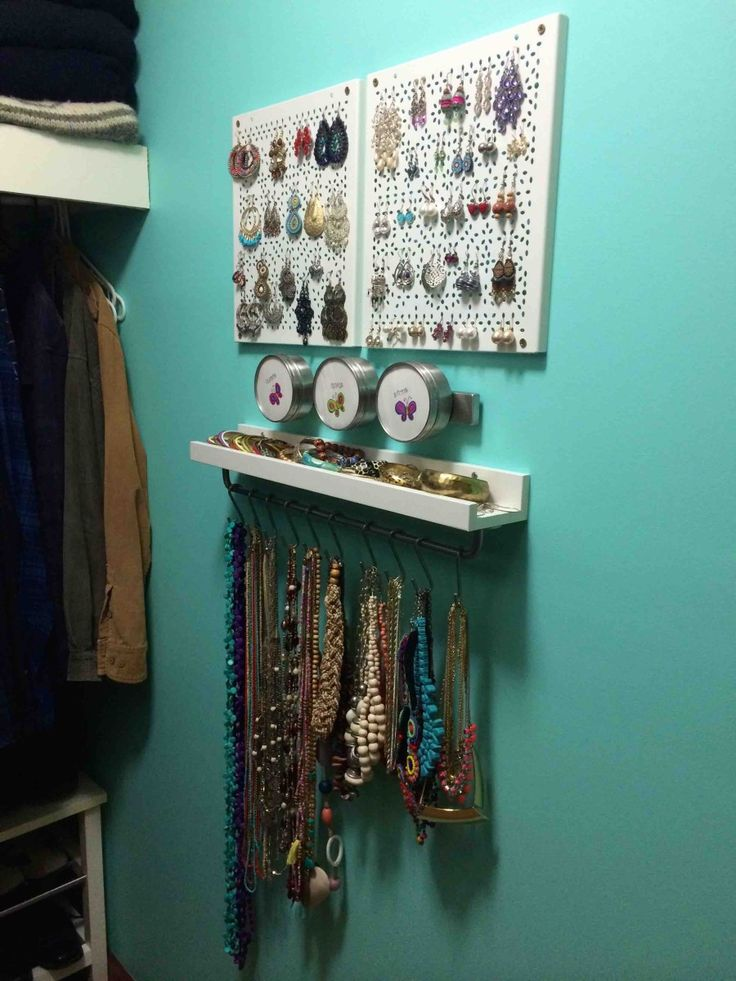 jewellery organiser. Items used were with total cost of $62 AUD: 2x Rational Variera shelf inserts 1x Grundtal Magnetic knife rack 1x 3 pack Grundtal containers 1x Ribba picture ledge 1x Bygel rail 1x pack 10 Bygel 'S' hooks Read more at http://www.ikeahackers.net/2015/04/variera-jewellery-organiser.html#pWtpSva0zyQJ20tE.99