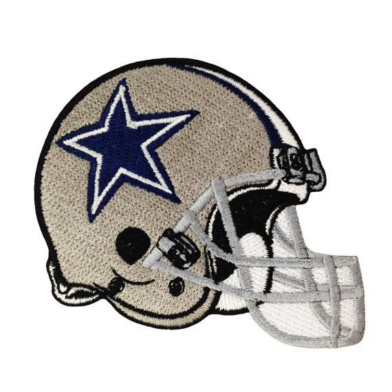 NFL Dallas Cowboys Helmet Embroidered Iron On Patch Black.
