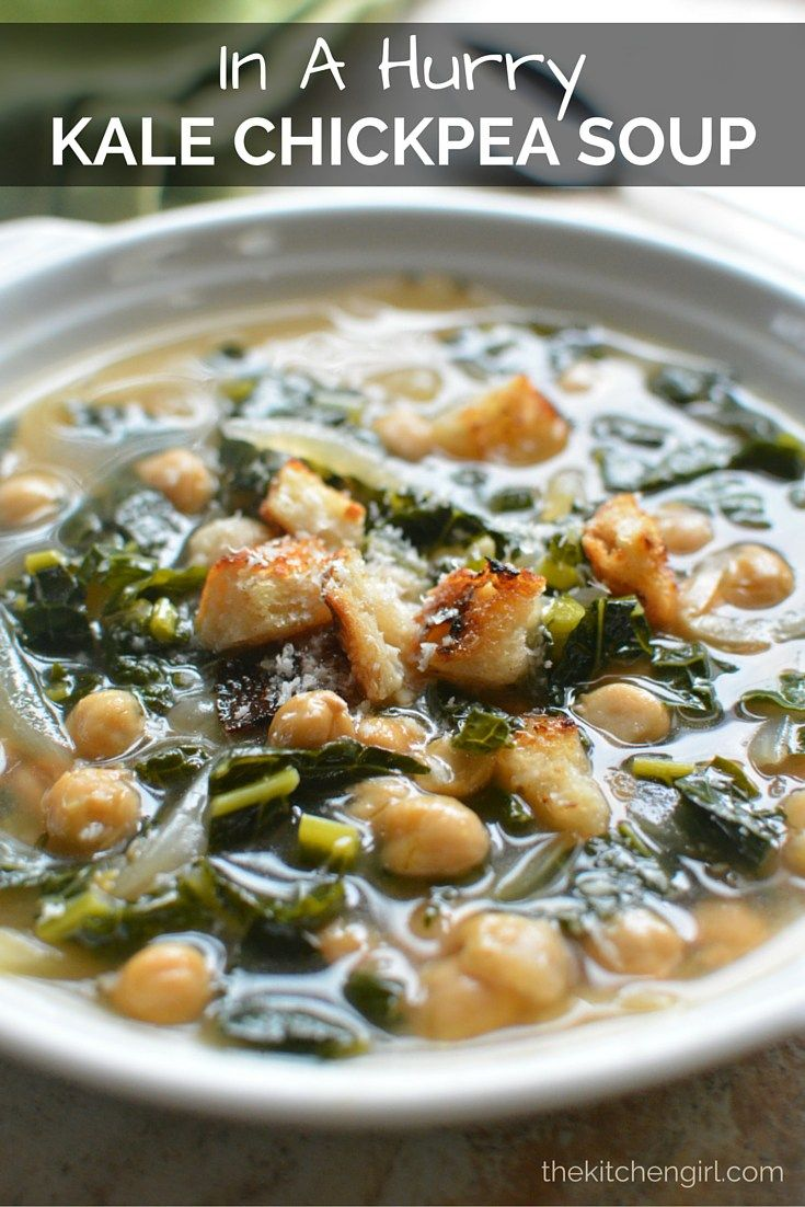 In-A-Hurry Kale and Chickpeas Soup goes from stove-to-table in 20 minutes. Garbanzos and dino kale make this easy, healthy, meatless Monday dinner. Or thermos-pack for lunch. Vegan/GF. thekitchengirl.com