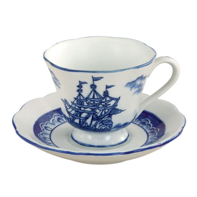 Nautical Delft style theme by Sadek makes this the perfect teacup and saucer for a beach tea party or a gift for the boater in your life. Add this set to your Blue Sails Teapot. Cream and Sugar Set are also available. * Made by Andrea by Sadek porcelain * 3.25″ High. * Dishwasher and …