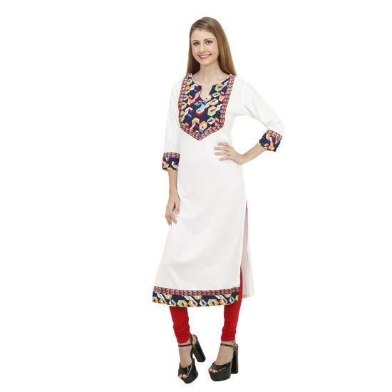 LadyIndia.com # Cotton Kurti, Stylish Floral Printed White Kurti For Women, Kurtis, Kurtas, Cotton Kurti, https://ladyindia.com/collections/ethnic-wear/products/stylish-floral-printed-white-kurti-for-women