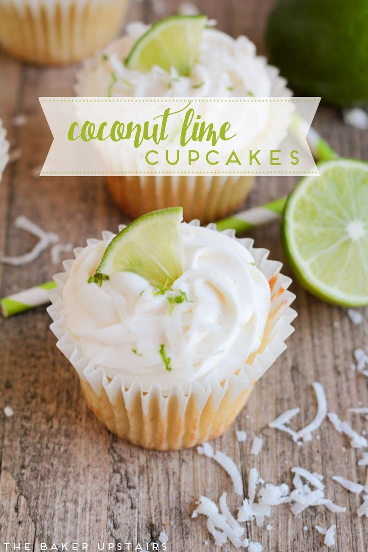 Coconut lime cupcakes - so fresh and flavorful and perfect for spring! www.thebakerupstairs.com