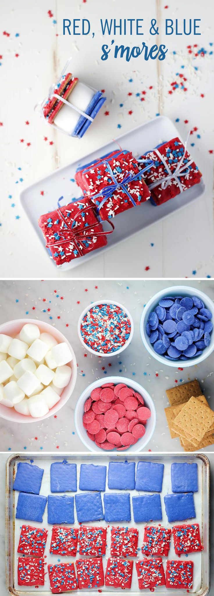 "If the ""colors"" of summer are red, white, and blue, why not extend the theme to that classic summertime treat — s'mores? All you need are five ingredients! Just dip your graham crackers in either red or blue candy melts and decorate with colored sprinkles. Tie them up and let your guests help themselves! These 4th of July S'mores will look so festive at your party!"