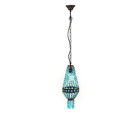RIFLESSI D'ESOTICO: lampadario in metallo e resina erin blu - 17x45x17 cm