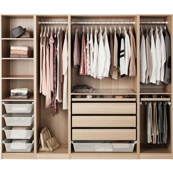 PAX Wardrobe White stained oak effect ❤ liked on Polyvore featuring home, furniture, storage & shelves, white furniture, white oak furniture, oak furniture, oak wood furniture and oakwood furniture