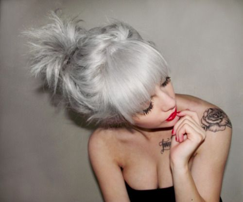 platinum white blonde hairGray Hair, Grey Hair, White Hair, Silverhair, Hair Colors, Silver Hair, Rose Tattoo, Shoulder Tattoo, Greyhair
