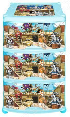 Violet «Пираты»  — 1904р. -------------------------------------- Комод Violet Пираты это незаменимый атрибут детской комнаты. Три выдвижных вместительных ящика, удобные ручки и устойчивые ножки обеспечат комфортное хранение одежды, белья, игрушек и различных аксессуаров вашего малыша. Модель изготовлена из прочного, качественного пластика, поэтому прослужит долго. Максимальная нагрузка на 1 ящик составляет 12 кг, а общая на весь комод 36 кг. Украшенный дизайнерским принтом комод Violet…