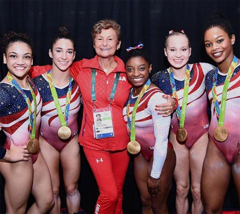 The Final Five Rio 2016 Laurie Hernandez, Aly Raisman, (Team Coach Martha  Karolyi ) Simone Biles, Madison Kocian and Gabby Douglas