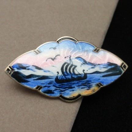 Norway Picture Pin Vintage Sterling Silver Enamel Bernard Meldahl | eBay