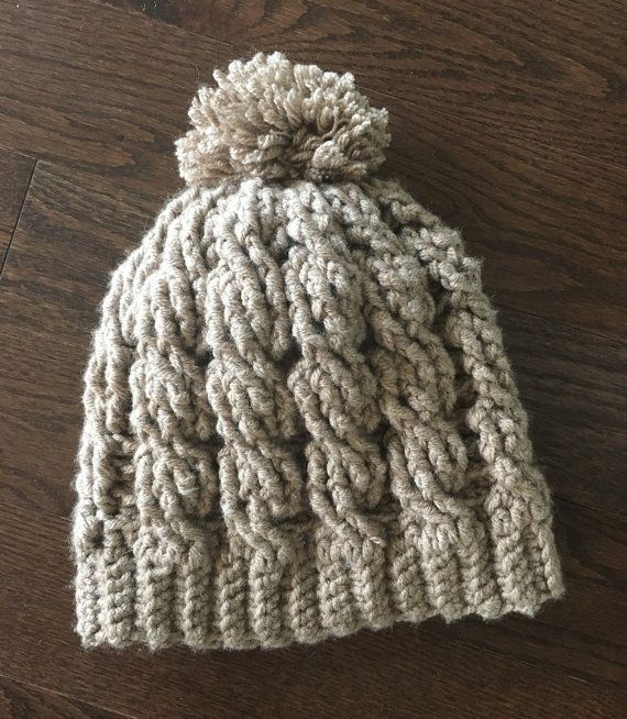 Cable slouch hat cabled pompom twist by MommaMarvelousShoppe