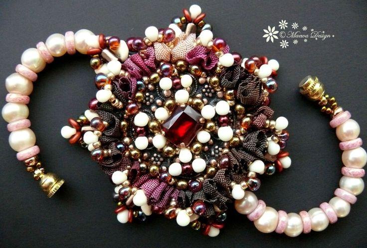Bead embroidered bracelet Beadwork Seed beaded от MaewaDesign