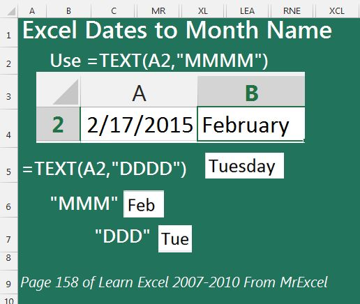 How to convert date to month in excel in Australia