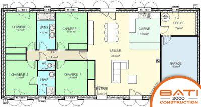 Plan maison traditionnelle plain pied 116 m² 4 chambres