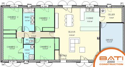 Plan maison traditionnelle plain pied 116 m 4 chambres for Construction maison 5 chambres