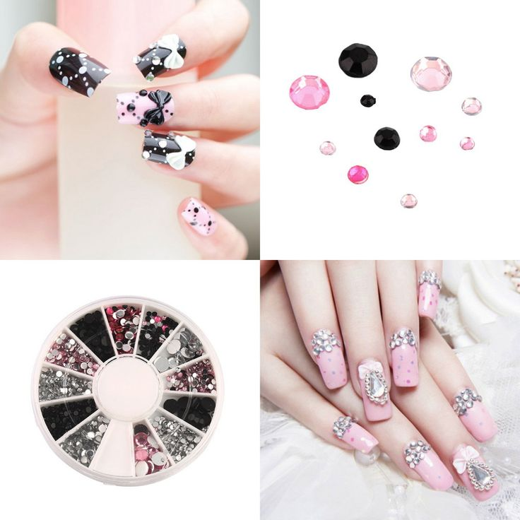 3D nail jewelry Acrylic Nail Art Decoration 4 Sizes Black White Pink Round Wheel Diy Glitter Rhinestones For Nails charm Tools