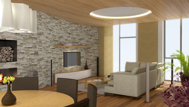 návrh obývacího pokoje s jídelnou v rodinného domě