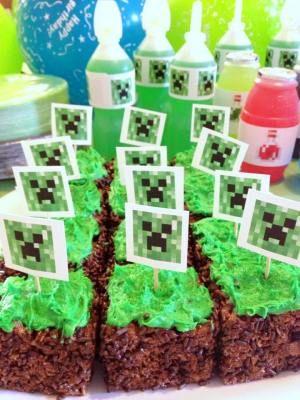 Minecraft Birthday Party - dirt block treats and invites.