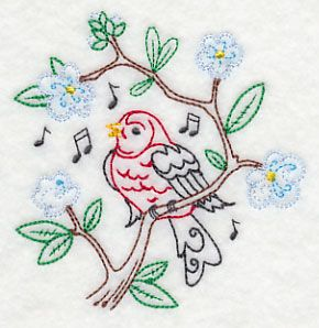 Singing Scarlet Tanager on Branch 2 (Vintage)