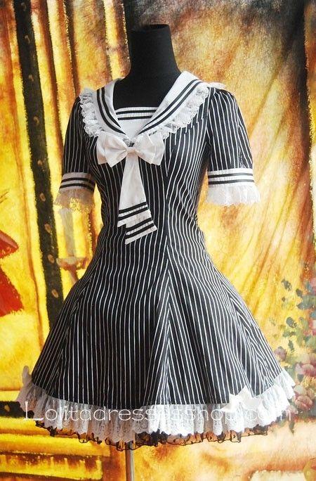 Cheap Black And White Strips Sailor Lolita Dress Sale At Lolita Dresses Online Shop