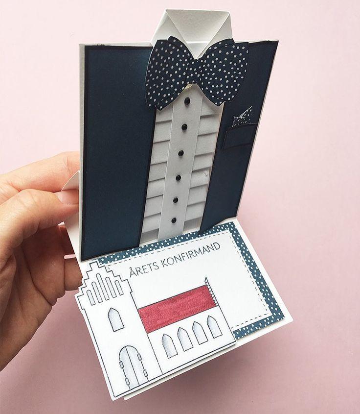 En tredje version af skjortekortet - en smokin. #threescoopsdk #skjortekort #herrekort #camillaskort #blog #skabelon #håndlavet #handcrafted #handmade #handmadecards #handmadecard #cardmaking #scrapbooking #papirhobby #paperart #papercut #papercraft #papercrafting #stempler #clearstamps #paperdesign #papirdesign #personlighilsen #coloring #kortfremstilling #kort #diy #doityourself
