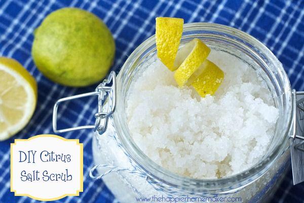 I can do this!!!! DIY Citrus Salt Scrub-Easy Gift Idea - The Happier Homemaker | The Happier Homemakeri