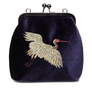 Blue Velvet Animal Embroidery Across Body Bag with Braided Strap