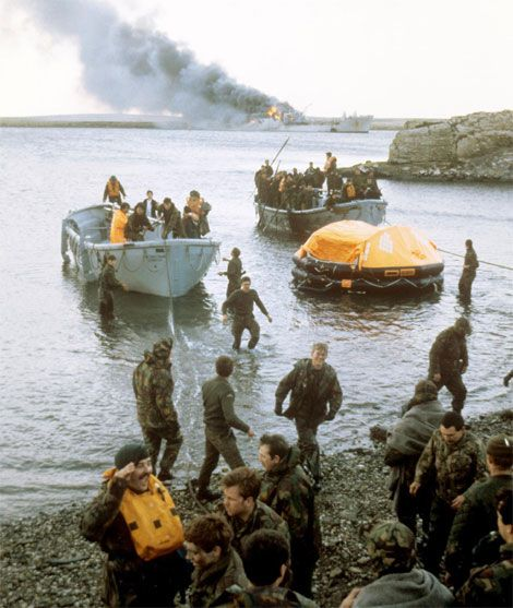 June 8, 1982: More than 50 British soldiers killed in attacks on landing craft RFA Sir Galahad and RFA Sir Tristram off Fitzroy.