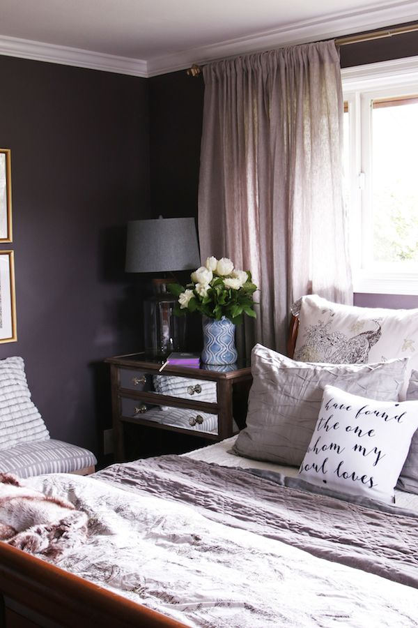 Master Bedroom Sneak Peek! {Black Frosted Plum Walls} - The Inspired Room