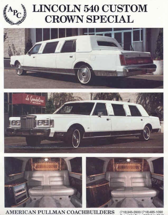 1987 Lincoln Continental Town Car 540 Custom Crown Special Stretch Limousine By Apc In 2021 Lincoln Continental Limousine Classic Cars