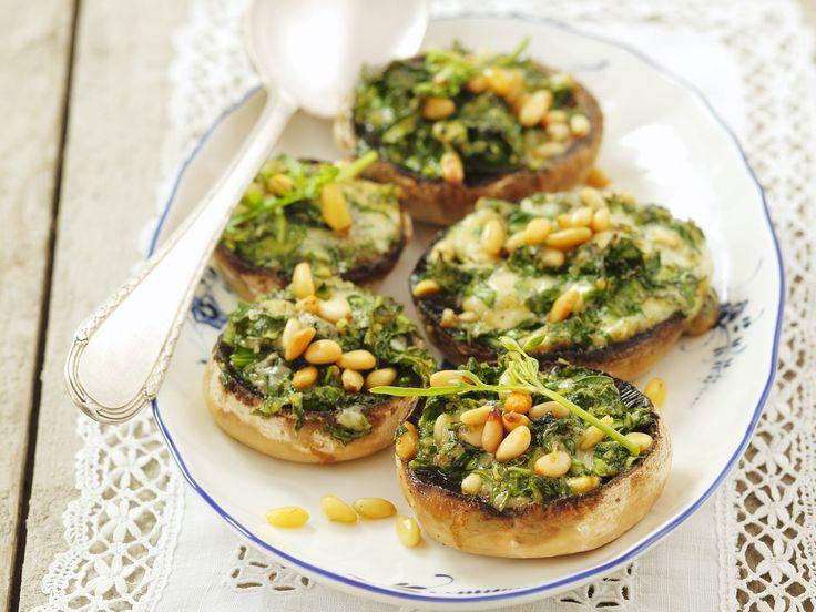 Champignons gefüllt mit Rucola und Gorgonzola